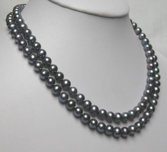 DOUBLE ROWS BLACK FRESHWATER PEARL NEACKLACEs925 clasp