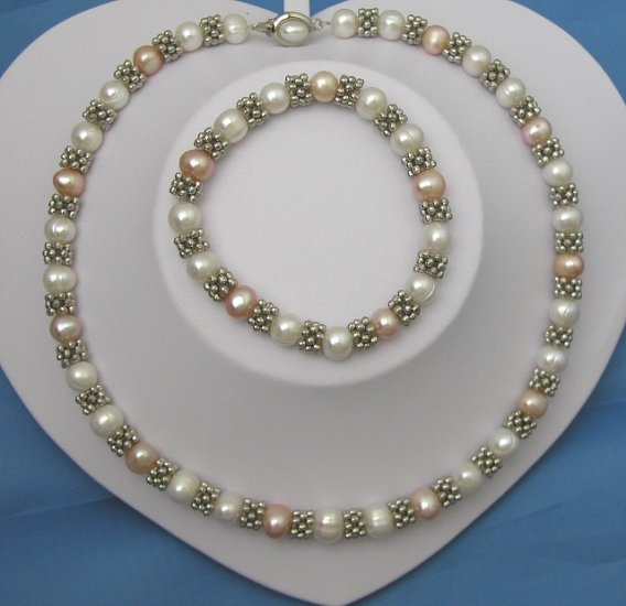 Fashionable White & Pink Pearl Necklace And Bracelet
