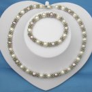 Fashionable White & Purple Pearl Necklace And Bracelet