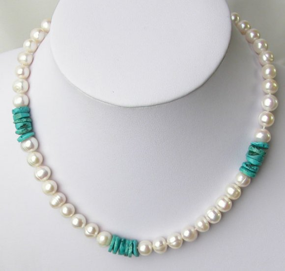 Freshwater pearl necklace with turquoise ornamental