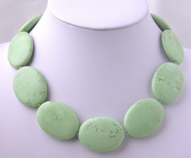 Genuine Great Big Ellipse Flat Turquoise Necklace