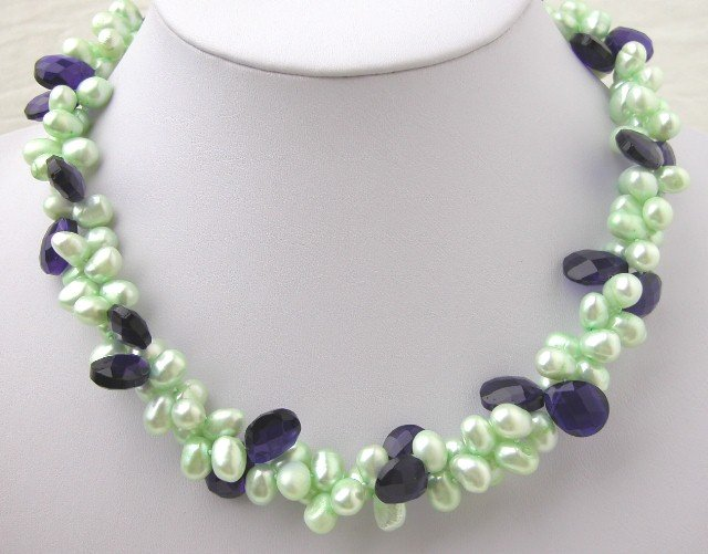 Green FW Cultured Pearl & Navy Blue Crystal Necklace