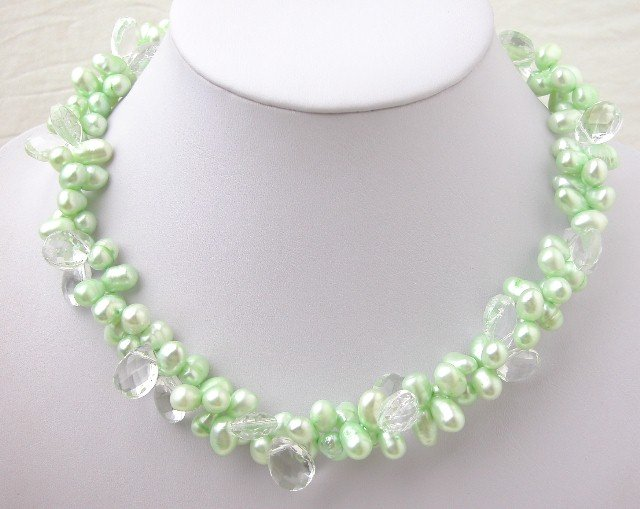 Green FW Cultured Pearl & white Crystal Necklace