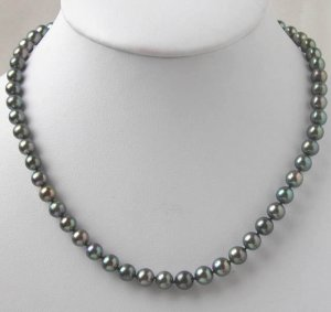 HIGH QUALITY 7-8MM BLACK FRESHWATER PEARL NECKLACE