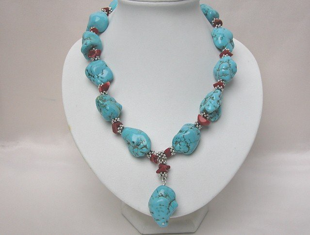 NATURAL BIG BAROQUE TURQUOISE RED CORAL NECKLACE