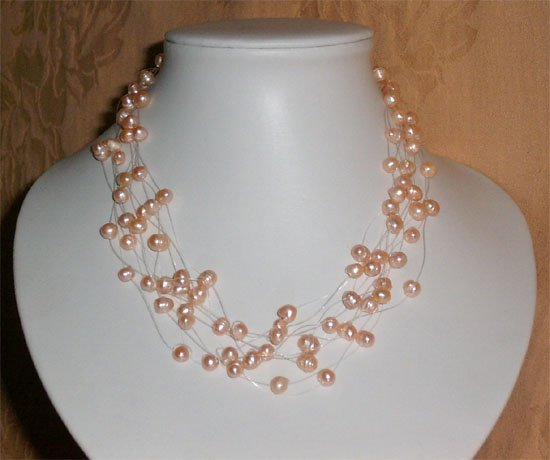 NATURAL PINK FRESHWATER PEARLS NECKLACE