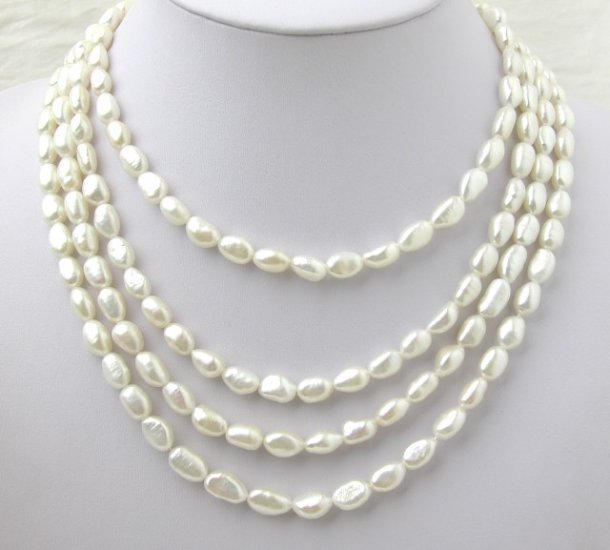 Super 80'' Long White Freshwater Pearl Necklace