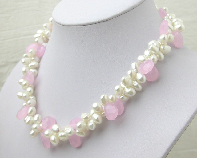White FW Cultured Pearl & Pink Crystal Necklace