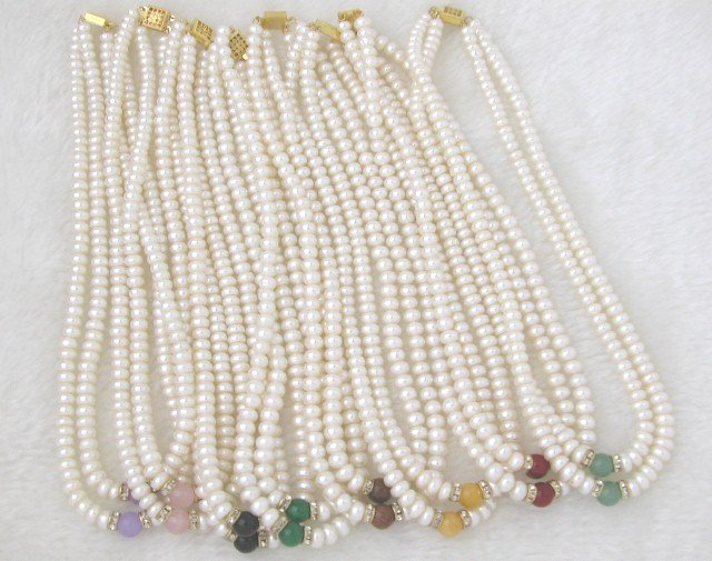 Wholesale 2 Strands White Freshwater Pearl Necklace