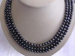 3 ROWS BLACK FRESHWATER PEARL NECKLACE