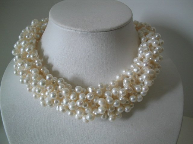 6-STRAND NATURE WHITE PEARL NECKLACES & Shell Clasp