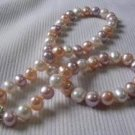 9mm nature real 3-color fresh water pearl necklace S925