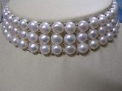 New 3-strand Choker 8mm white pearl Necklace