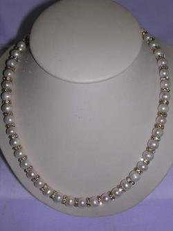 SUPER CZ FRESH WATER PEARLS NECKLACE