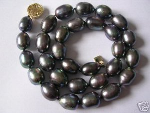 Super 10-11MM black seashell pearl necklace