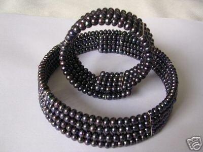 Super Black Pearl Choker Necklace With Match Bracelet