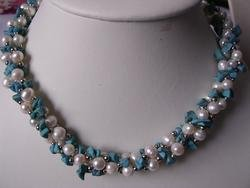 beautiful turquoise with pearl necklace