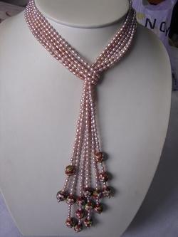 super 4-strand Cloisonne enamel pink pearl necklace
