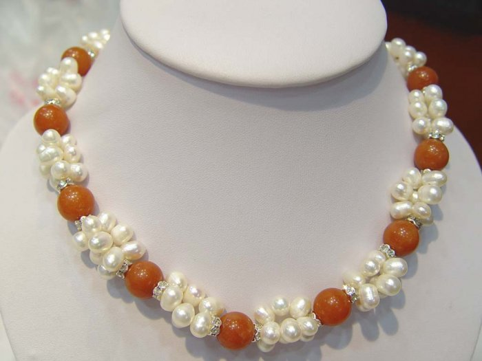18'' 3 rows white pearl necklace with agate