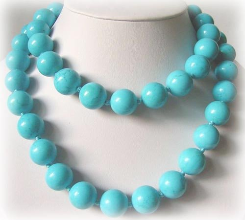 AAA+ 34'' 16mm Blue Turquoise Necklace