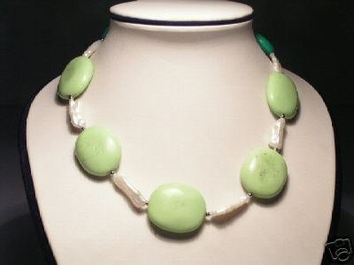 Baroque White FW Pearls&Turquoise Necklace