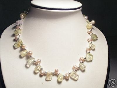Beautiful Real Pink Pearls&Crystal Necklace
