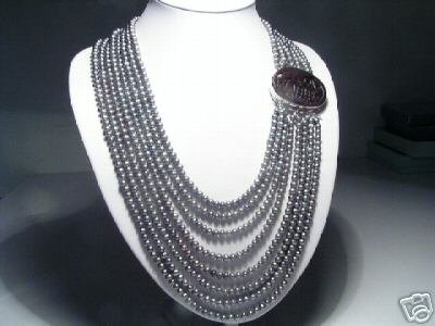 Charming 8-Srd Gray FW Pearls&Emblema Necklace