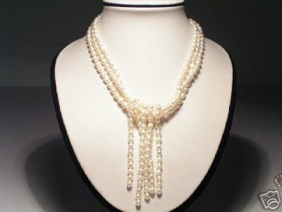 Charming Real 3-Srd White Pearls Necklace