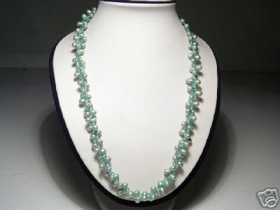 Classy 2-Srd Real Green FW Pearls&Crystal Necklace