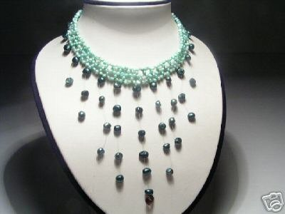 Elegant 3-Row Green FW Pearls&Amethyst Necklace