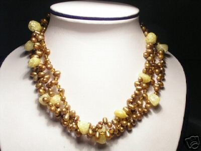 Elegant 3-Srd Yellow FW Pearls&Crystal Necklace