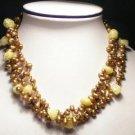 Elegant 3-Srd Yellow FW Pearls&Crystal Necklace