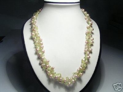 Likable 2-Srd Pink Freshwater Pearls&Crystal Necklace