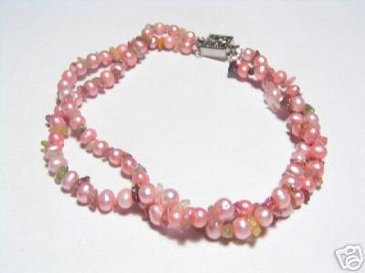 Lovely 2-Srd Pink FW Pearls&Crystal Bracelet