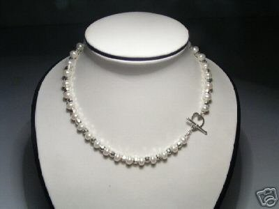 Luster Real White FW Pearls&Silver Bead Necklace 925s heart