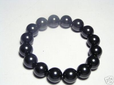 Lustrous Black Seashell Pearls Stretch Bracelet