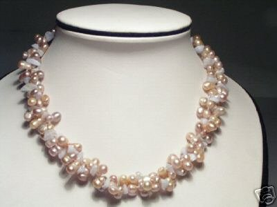 Rare Baroque 2-Srd Purple FW Pearls&Stone Necklace