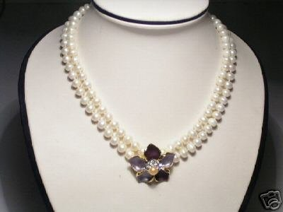 Shining Real 2-Srd White FW Pearls&Floral Necklace