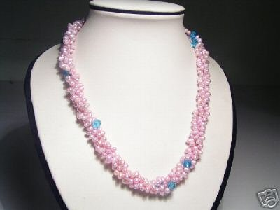 Stunning 4-Srd Pink FW Pearls&Crystal Necklace
