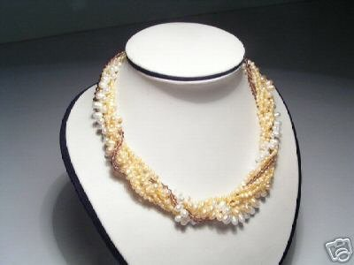 Stylish 7-Srd yellow &White FW Pearls&Crystal Necklace