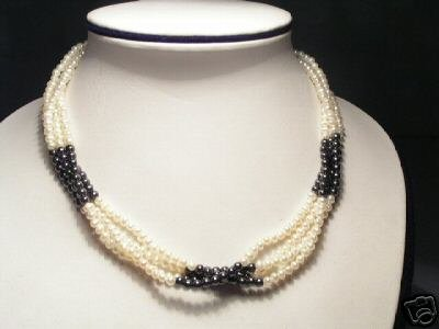 Unique Real 4-Srd White&Gray Pearls Necklace