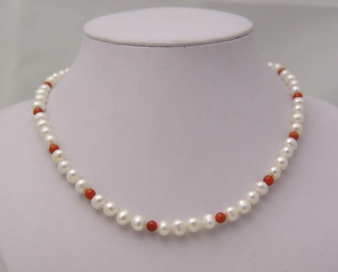 Unique! white pearl necklace &12 pcs red coral