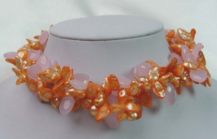 Unique!!! 2 rows fantastic pink pearl & crystal necklace