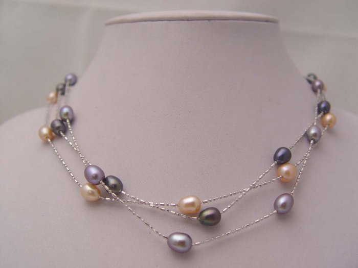 wholesale 3 strands 7MM pink black purple pearl necklace