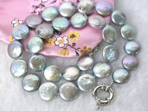 13mm round natural grey coin cultured pearls Necklace