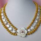 17-18-19'' 13mm WHITE coin yellow pearl Necklace cameo
