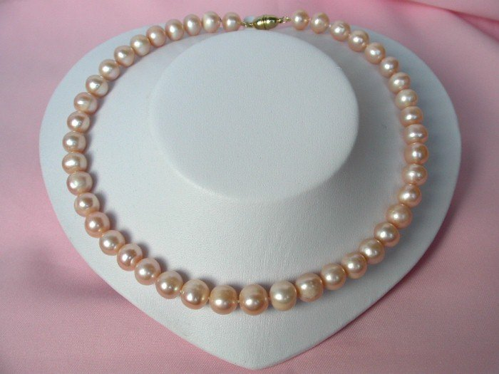 BIG 11mm round pink cultured pearls Necklace magnet 9k