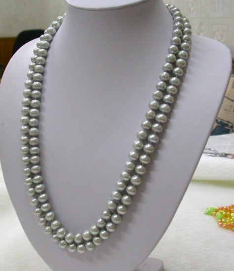CLASSIC LONG 50'' 10mm round grey pearls necklace