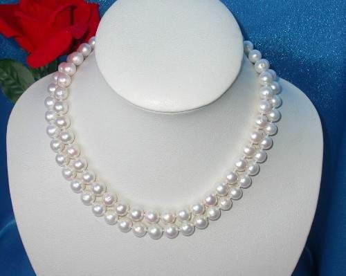 CLASSIC double 10mm white round cultured pearl necklace