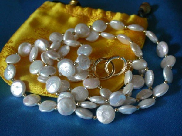 CLASSIC double 13mm coin white pearls necklace 9K GOLD